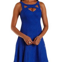 Cobalt Textured Mesh Cut-Out Skater Dress by Charlotte Russe