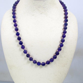 Art Deco Amethyst Necklace. 14K Yellow Gold Hand Knotted Amethyst Bead Necklace. February Birthstone.