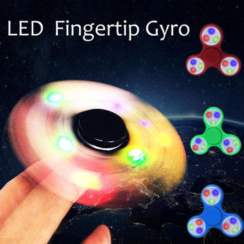 LED Light Hand Spinner Tri Fidget Flash EDC Finger Spinner For Autism and ADHD Relief Focus Anxiety Stress relax Gift