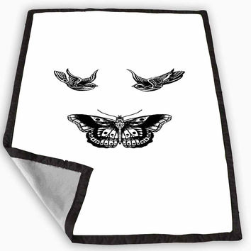 Birds and butterfly tattoos Blanket for Kids Blanket, Fleece Blanket Cute and Awesome Blanket for your bedding, Blanket fleece *