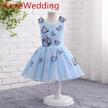 iLoveWedding Flower Girl Dresses Formal A-Line Mini Blue Organza O-Neck Sleeveless Flowers Party Prom Bridal Gowns 12301