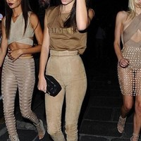 Pleasant Surprise Beige Faux Suede High Waist Skinny Pants - Inspired by Kendall Jenner