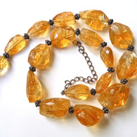 Natural Citrine Sterling Silver Necklace Strand Graduated Faceted Vintage Beads