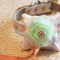 Green Mint Peach Ring Pillow , Pillow attach to the High quality Leather Collar, Ring Bearer Pillow, Wedding Wedding accessory