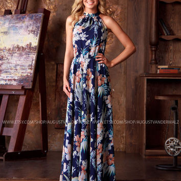 Long Summer Dress, sleeveless floral dress, Navy maxi dress , long printed dress, designer dress, full length dress, exclusive summer dress