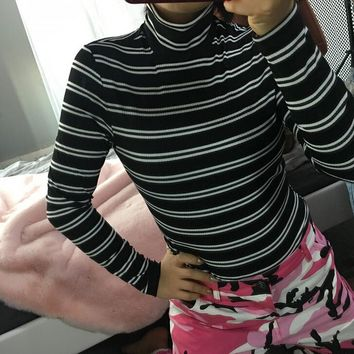 Fashion Womens High-necked Stripe Slim Long Sleeve Shirts Top +Gift Necklace