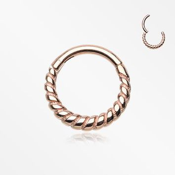 Rose Gold Classic Rope Seamless Clicker Hoop Ring