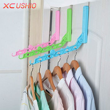 Door Hanging Foldable Clothes Hanger Magic 5 Hole Hanger Rack With Hook Space Save Clothing Tie Organizer Creative Drying Rack