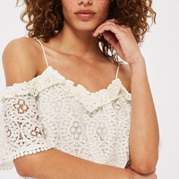 Lace Frill Cold Shoulder Top - Tops - Clothing