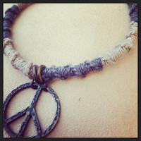 Hemp Cord Anklet with Peace Sign Pendant