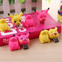 100% real capacity Retail anime cute Pokemon Pikachu USB Flash Drives thumb pen drive 4GB 8GB 16GB 32GB USB#S239