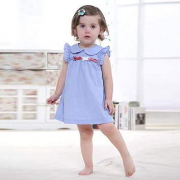 Easter Dress 100% Cotton  Sleeveless Printed Embroidery Baby Dress