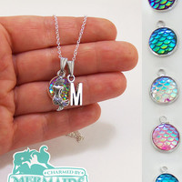 Custom mermaid necklace, personalized jewelry, custom gifts, personalized necklace, monogram mermaid scale necklace, initial scale necklaces