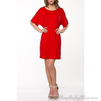 Solid Short Sleeve Knit Tunic Dress