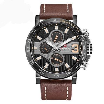 Mens Luxury Chronograph Military Watch with Leather Strap
