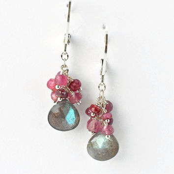 Labradorite Ruby Earrings, Drop Earrings, Sterling Silver, Pink Gray Gemstone Clusters, Leverbacks