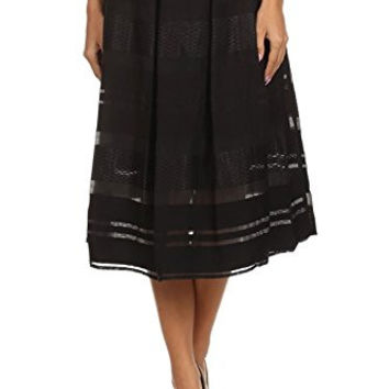 Califul Classic Pleated Black Midi Skirt with Organza