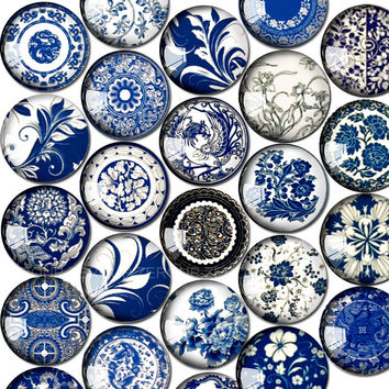 12mm round glass cabochon blue and white porcelain pictures mixed pattern fit cameo base setting for jewelry flatback 50pcs/lot
