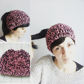 Pink Ponytail Hat Messy Bun Hat Ponytail Bun Black Crochet Hat Girls Beanie Open Top Hat Black Hat Tam Hat Messy Bun Hat Girls Gift