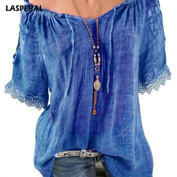 LASPERAL Casual Boho Short Sleeve Women Blouse Tops Sexy Off The Shoulder Shirt 2018 New O Neck Chiffon Tee Tops Plus Size 5XL