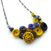 Button Statement Necklace in Navy Blue, Gray, and Bright Yellow