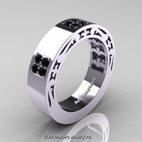 Mens Modern Vintage 14K White Gold Black Onyx Wedding Band R474M-14KWGBO