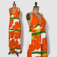 "Vintage 60s Novelty Print Halter DRESS / Vintage 1960s Bright ""He Loves Me"" Floral Malia Maxi Sun Dress"