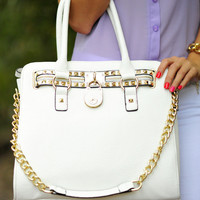Free Spirit Satchel: White/Gold | Hope's
