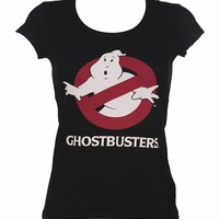 Ladies Black Ghostbusters Logo T-Shirt : TruffleShuffle.com