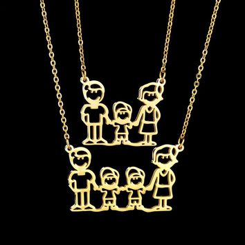 FUNIQUE Stainless Steel Family Necklace For Family Member Mom Dad Kids Fashion Pendant Necklaces Emotional Series Jewelry