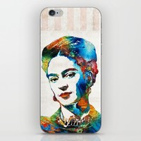 Frida Kahlo Art - Viva La Frida - By Sharon Cummings iPhone & iPod Skin by Sharon Cummings