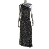 Calvin Klein Womens Metallic Lace One Shoulder Evening Dress
