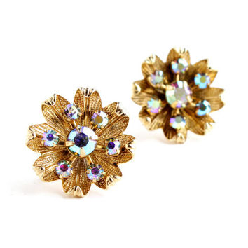Vintage Rhinestone Embellished Clip On Earrings - Gold Tone Floral Aurora Borealis Costume Jewelry / Screw Back Spring Accessory