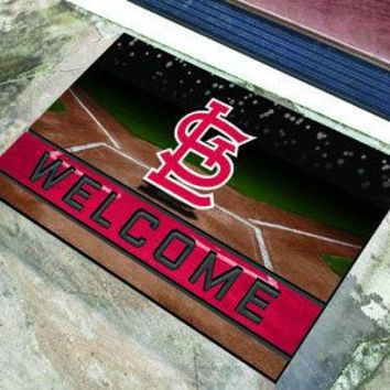 St. Louis Cardinals Door Mat 18x30 Welcome Crumb Rubber
