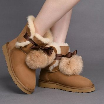 LFMON UGG 1018517  TODS Double Ball Women Men Fashion Casual Wool Winter Snow Boots Chestnut
