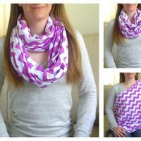 SHIPS SAME DAY -- Radiant Orchid Purple Chevrons Jersey Knit Nursing Scarf / Breastfeeding Scarf / Nursing Cover
