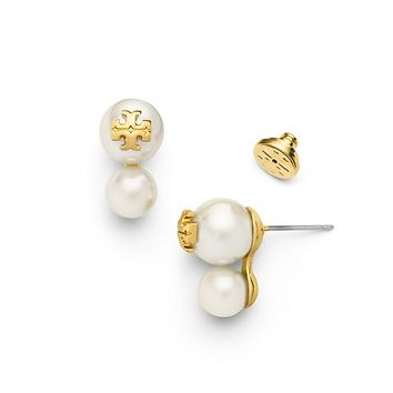 Tory Burch Crystal-pearl Double-stud Earring