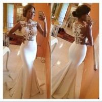 2015 new Mermaid Lace Wedding Dresses Bridal Gown Proms Custom Size 6-16