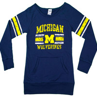 Michigan Wolverines Women's Long Sleeve Shirt with Handwarmer Pocket
