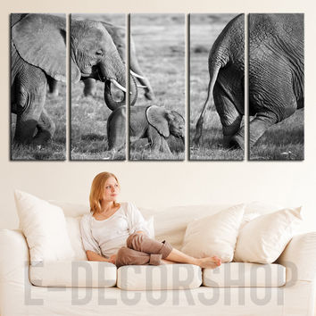 EXTRA LARGE Wall Art Canvas Wild Elephant Family Prints For Wall, Ready to Hang, Baby Elephant Photo Print On Canvas - MC122