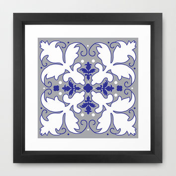 Brocade Leaves Framed Art Print by KJ53321 | Society6