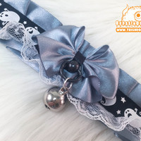 Spooky Ghost Halloween Kitten Play Collar, Kitten Play Collar, Pet Play Collar, Choker, Adult Kitten Play Collar, BDSM Collar