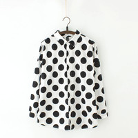 White & Black Dots Long-Sleeve Button Collar Shirt