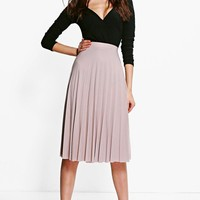 Geneva Pleated Slinky Midi Skirt | Boohoo