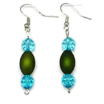 Green Barrel with Blue Faceted Round Beaded Earrings