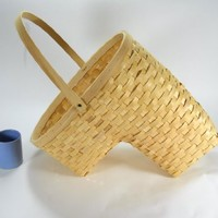 Medium Natural Wooden Stair Basket Collapsable Handle