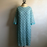 Vintage 1960s Lace Dress Pale Blue Lace 60s Shift Dress w-Satin Bow Large