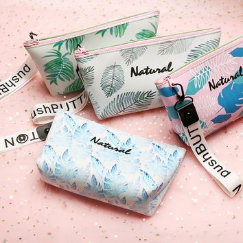 Cute Green Leaf pencil case Kawaii Unicorn Big capacity waterproof Portable pen bag stationery pouch for girls school supplies