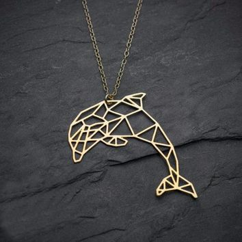 Dolphin Origami Shape Necklace