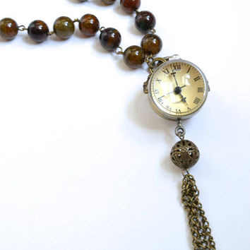 Don't Be Late - Alice In Wonderland Inspired, Steampunk Style clock on rosary style chain with real earth toned agate gemstones